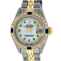 Rolex Ladies 2T MOP Emerald String Diamond And Sapphire Datejust Wristatch