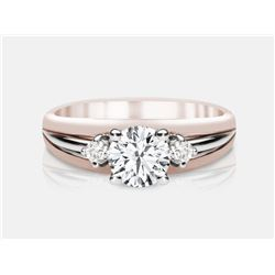 Cubic Zirconia and Diamond Ring - 14KT Two-Tone Gold