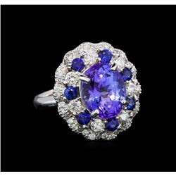 14KT White Gold 3.90 ctw Tanzanite, Sapphire and Diamond Ring