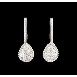 0.96 ctw Diamond Earrings - 14KT White Gold