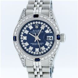 Rolex SS Blue String VVS Diamond and Sapphire DateJust Ladies Watch