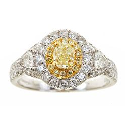 0.54 ctw Yellow and White Diamond Ring - 18KT White and Yellow Gold