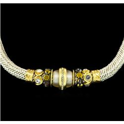 Silk Crystal Necklace - Gold Plated