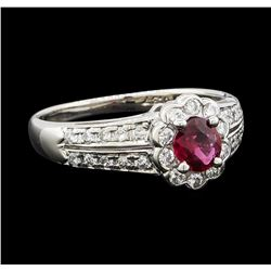 0.37 ctw Ruby and Diamond Ring - Platinum