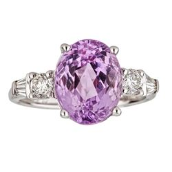 4.88 ctw Kunzite and Diamond Ring - 14KT White Gold