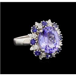 14KT White Gold 5.88 ctw Tanzanite, Sapphire and Diamond Ring