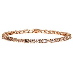 6.89 ctw Morganite and Diamond Bracelet - 14KT Rose Gold
