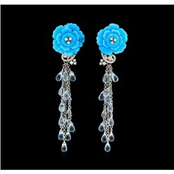 14.00 ctw Blue Topaz, Turquoise and Diamond Earrings - 18KT White Gold