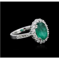 14KT White Gold 3.45 ctw Emerald and Diamond Ring