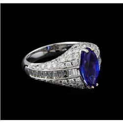 18KT White Gold 2.74 ctw Tanzanite and Diamond Ring