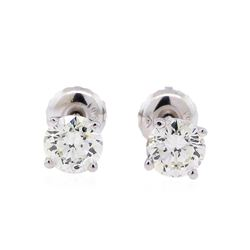 0.90 ctw Diamond Stud Earrings - 14KT White Gold