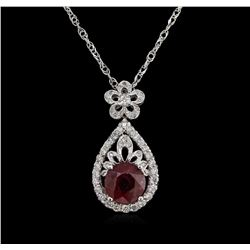 4.85 ctw Ruby and Diamond Pendant With Chain - 14KT White Gold