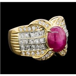 3.70 ctw Star Ruby and Diamond Ring - 18KT Yellow Gold and Platinum