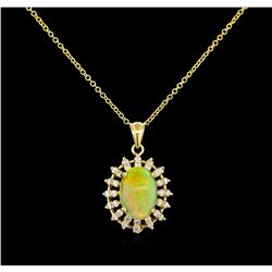 3.78 ctw Opal and Diamond Pendant - 14KT Yellow Gold