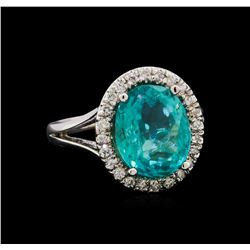 4.15 ctw Apatite and Diamond Ring - 14KT White Gold