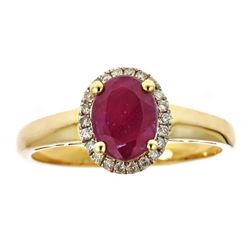 1.7 ctw Ruby and Diamond Ring - 10KT Yellow Gold