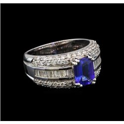 14KT White Gold 1.46 ctw Tanzanite and Diamond Ring