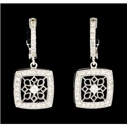 0.76 ctw Diamond Dangle Earrings - 14KT White Gold