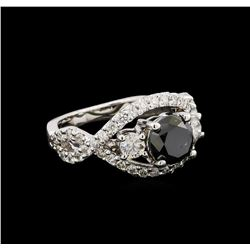 2.60 ctw Black Diamond Ring - 14KT White Gold