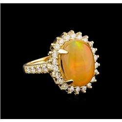 4.45 ctw Opal and Diamond Ring - 14KT Yellow Gold