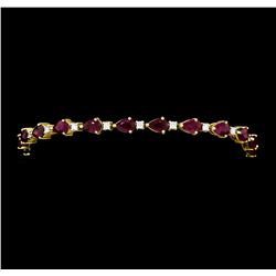 9.15 ctw Ruby And Diamond Bracelet - 18KT Yellow Gold