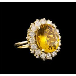 14KT Yellow Gold 6.17 ctw Citrine and Diamond Ring