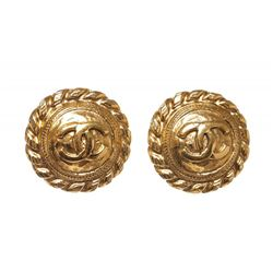 Chanel Gold CC Logo Disc Twist Edge Clip on Earrings