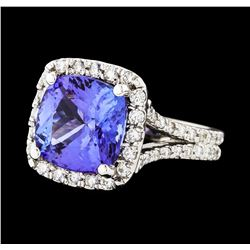 5.90 ctw Tanzanite and Diamond Ring - 14KT White Gold