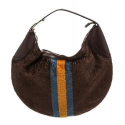 Gucci Brown Velvet Yellow Blue Stripe Horesbit Leather Shoulder Bag
