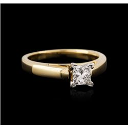 14KT Yellow Gold and Platinum 0.57 ctw Diamond Solitaire Ring