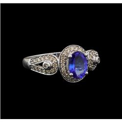 14KT White Gold 1.04 ctw Tanzanite and Diamond Ring