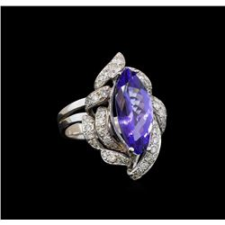 14KT White Gold 3.42 ctw Tanzanite and Diamond Ring
