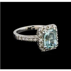2.32 ctw Aquamarine and Diamond Ring - 14KT White Gold