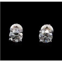 1.43 ctw Diamond Stud Earrings - 14KT White Gold