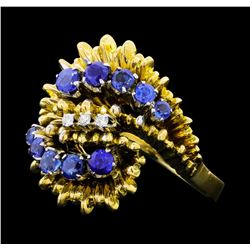 1.00 ctw Blue Sapphire and Diamond Ring - 18KT Yellow Gold