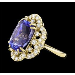 5.80 ctw Tanzanite and Diamond Ring - 14KT Yellow Gold