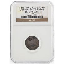 1279-1307 England Penny Durham S-1422 Edward I Bishop Insula Coin NGC XF45