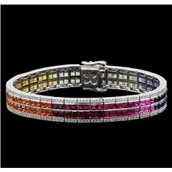 14.45 ctw Multi Color Sapphire and Diamond Bracelet - 14KT White Gold