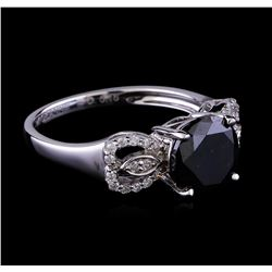 2.72 ctw Black Diamond Ring - 14KT White Gold