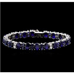 31.89 ctw Blue Sapphire and Diamond Bracelet - 14KT White Gold