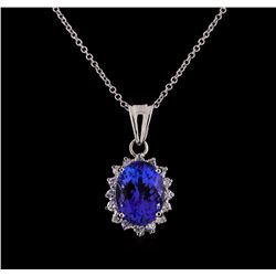3.85 ctw Tanzanite and Diamond Pendant and Chain - 14KT White Gold
