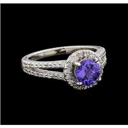 1.37 ctw Tanzanite and Diamond Ring - 14KT White Gold