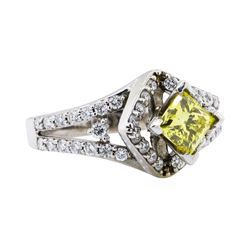 1.20 ctw Yellow and White Diamond Ring - 14KT White Gold
