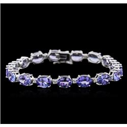14KT White Gold 20.83 ctw Tanzanite and Diamond Bracelet