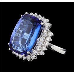 19.30 ctw Tanzanite and Diamond Ring - 14KT White Gold