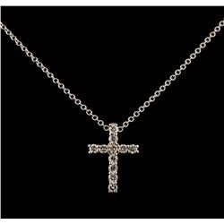 0.35 ctw Diamond Cross Pendant With Chain - 14KT White Gold