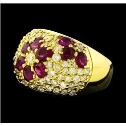 2.32 ctw Ruby and Diamond Ring - 18KT Yellow Gold