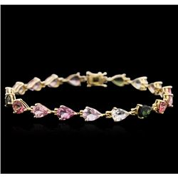 14KT Yellow Gold 10.61 ctw Multicolor Tourmaline Bracelet