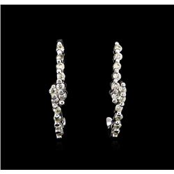0.10 ctw Diamond Earrings - 14KT White Gold