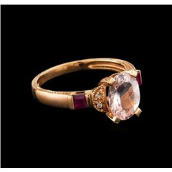 1.87 ctw Morganite, Ruby and Diamond Ring - 14KT Rose Gold